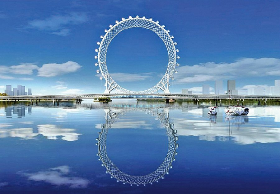 В Китае построили безосевое колесо обозрения